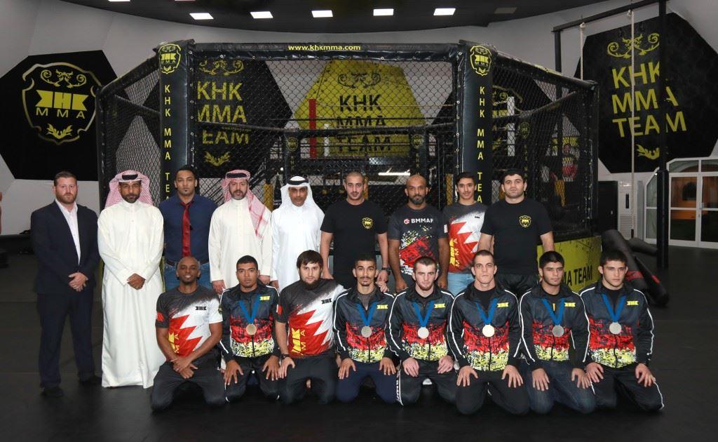 (Image Caption: His Highness Sheikh Khalid bin Hamad Appreciates National MMA Team)